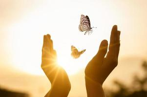 Mädchen befreit den Schmetterling vom Moment foto