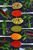 bunte verschiedene Kräuter und Gewürze zum Kochen auf dunklem Hintergrund foto