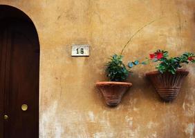 zwei braune Betonpflanzgefäße auf braun gestrichenem Haus foto
