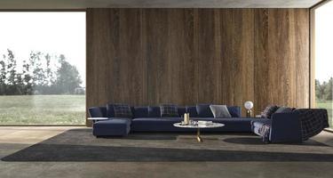 Moderner Luxus-Innenhintergrund mit Panoramafenstern und Naturblick und Holzwand verspotten helles Design-Wohnzimmer 3D-Rendering-Illustration foto