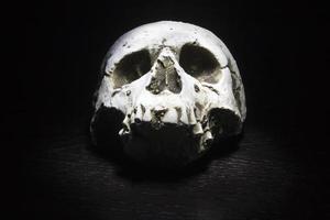 Totenkopf auf schwarzem Hintergrund foto