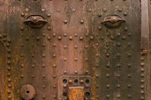 Augenseite Roboter rostiges Metall Rost Eisen altes Metall Rost Textur foto