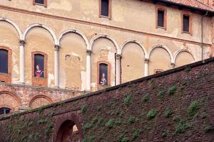 Detail der Ducale Palace Fassade in Vigevano in der Lombardei, Norditalien? foto