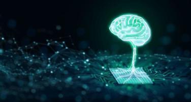 AI-Chipsatz mit menschlichem Gehirn auf der Computerplatine. ai-cpu-konzept. 3D-Rendering. foto