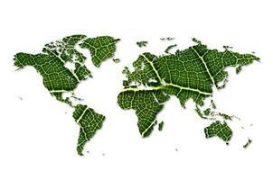 Öko-Weltkarte aus grünen Blättern Karte grünes Blatt Umweltschutzkonzept foto