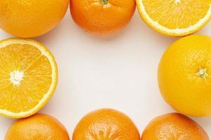 Draufsicht Orangen Anordnung foto