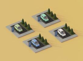 3D-Elektroautos und Ladestationen mit hohem Winkel foto