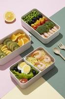 Draufsicht minimale Bento-Box-Zusammensetzung foto
