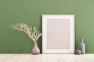 3D-Rendering von Mock-up-Innenarchitektur für Wohnzimmer mit Bilderrahmen an grüner Wand foto