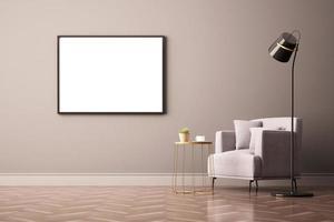 3D-Rendering der Innenarchitektur für Wohnzimmer mit Bilderrahmen an der Wand foto