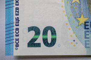 das Detail der 20-Euro-Banknote foto