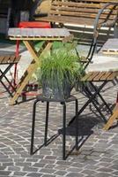 Topf mit Pflanze auf einem Hocker foto