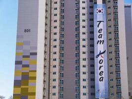 olympisches Dorf. koreanische Wohnungen. gangneung stadt, südkorea. Februar 2018 foto