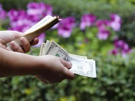 Hände einer Frau, die US-Dollar-Banknoten in einem Garten hält foto