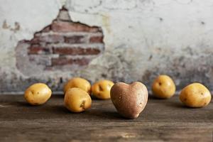 Herzförmige rote Kartoffel unter weißen Kartoffeln auf Vintage-Hintergrund foto