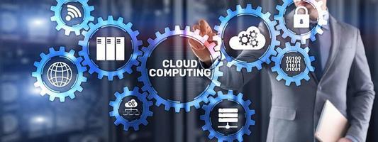 Cloud-Computing-Datenspeichersoftware-Infrastruktur. gemischte Medien foto