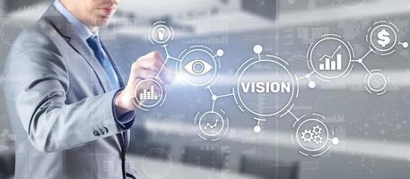 Vision Richtung zukünftige Geschäftsinspiration Motivationskonzept foto