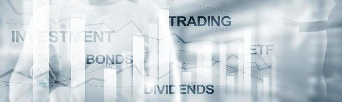 Anleihen-Dividenden-Konzept. abstrakte Hintergrundfahne der Geschäftsfinanzierung. foto