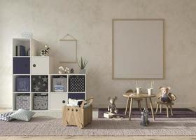 Kinderzimmer Interieur im skandinavischen Stil. Mock-up-Rahmen auf Wandhintergrund. Kinder Bauernhaus Stil 3D-Rendering Illustration. foto