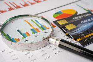 Kreditkarte mit Lupe auf Diagramm- und Millimeterpapier. Finanzentwicklung, Bankkonto, Statistik, investitionsanalytische Forschungsdatenwirtschaft, Börsenhandel, Geschäftskonzept. foto