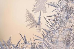 Frostmuster auf dem Glas des Winterfensters bei klirrender Kälte foto