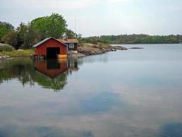 Bootshaus an der Ostsee bei Mariehamn Aland Finnland foto