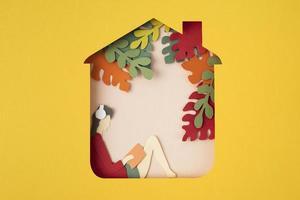 Stillleben-Sortiment im Stil der Isolierung im Papierstil foto
