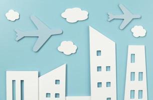 städtisches Verkehrskonzept mit Flugzeugen foto