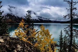 Herbstfarben am Yachthafen. Lake Minnewanka, Banff Nationalpark, Alberta, Kanada? foto