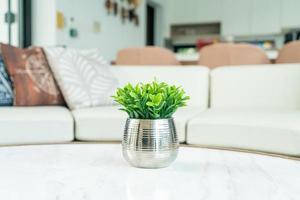 Pflanze in Vasendekoration auf dem Tisch im Wohnzimmer foto