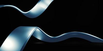 helles metallisches Band funkelnder schwarzer Hintergrund 3D-Illustration foto