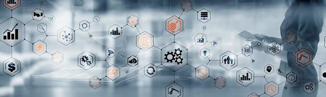 abstrakte Technologie industrielle Geschäftsprozesse Organisationsstruktur Website-Header-Banner foto