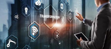 digitale Transformation von Unternehmen. Zukunft und Innovation Internet- und Netzwerkkonzept. technologischer Hintergrund. foto
