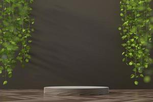 abstrakte Plattformvitrine für Produktpräsentation mit Efeu 3D-Rendering foto