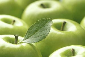 Nahaufnahme von glänzenden grünen Äpfeln foto