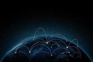 Internetverbindungskonzept des globalen Geschäfts. elemente dieses von der nasa bereitgestellten bildes. foto