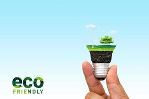 grünes Öko-Energiekonzept. Baum wächst in Glühbirne. Natur Hintergrund. Denken Sie an ein grünes und ökologisches Konzept. Weltumwelttag. foto