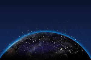 Internetverbindung des globalen Netzwerks. gemischte Medien. elemente dieses von der nasa bereitgestellten bildes. foto