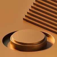 abstrakter, glänzender geometrischer Formhintergrund, modernes minimalistisches Modell für Podiumsanzeige oder Vitrine, 3D-Rendering foto