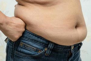 Übergewichtige Asiatin zeigt fetten Bauch im Büro. foto