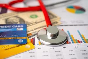Stethoskop, Kreditkarte und US-Dollar-Banknoten auf Diagramm- oder Millimeterpapier, Finanz-, Konto-, Statistik- und Geschäftsdaten medizinisches Gesundheitskonzept. foto