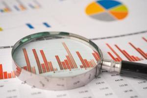 Lupe auf Diagrammen Millimeterpapier. Finanzentwicklung, Bankkonto, Statistik, investitionsanalytische Forschungsdatenwirtschaft, Börsenhandel, Geschäftsbüro-Firmentagungskonzept. foto