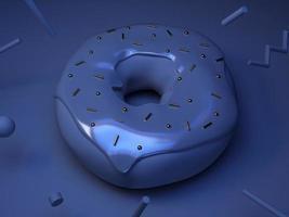 blaues Donut-Konzept mit goldenen Perlen foto