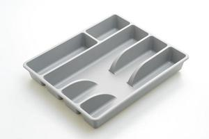 Küchenbox mit Besteck für Löffel, Gabeln, Messer auf weißem Hintergrund foto