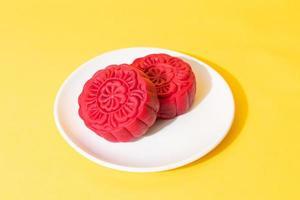 Mondkuchen mit rotem Samtgeschmack für das Mittherbstfest foto