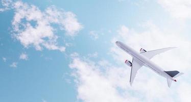 Draufsicht des Flugzeugs über den Wolken foto