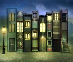 Bücher bewohnte Nachtversion foto