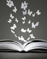 offenes Buch und Schmetterlinge foto