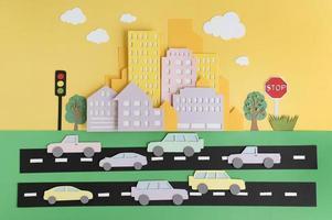 Zusammensetzung im Stadtverkehr im Papierstil foto
