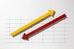 Statistik-Präsentationsset in der Draufsicht foto